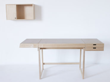 Handmade writing desk and cabinet Futari made in ash and pear